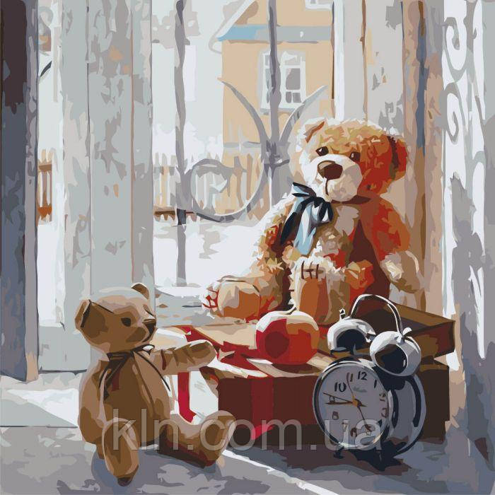 Картина по номерам без коробки Игрушки детства (арт. KHO2310) 40 х 40 см