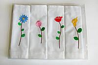 Салфетки с вышивкой из 100% хлопка домотканной льняной фактуры