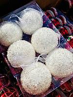 Новогоднее Интерьерное Украшение Елочная Игрушка Шарики Белые Пушистые 5 см Набор 6 шт