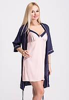 Комплект женский ночная рубашка-халат из шелка Кс020н