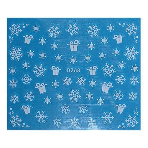 KATTi Наклейки водные - D 268 белые снежинки (новый год), фото 2
