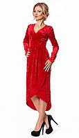 Вечернее бархатное платье красного цвета с длинным рукавом. Модель 1021