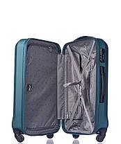 Дорожный чемодан из ABS пластика на 4-х колесах (средний) Puccini Paris  бледно зеленого цвета, фото 3