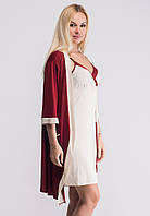 Комплект из вискозы для дома, ночная рубашка+халат, Км110н