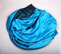 Шарф двухсторонний из шерсти/шелка бирюзового цвета