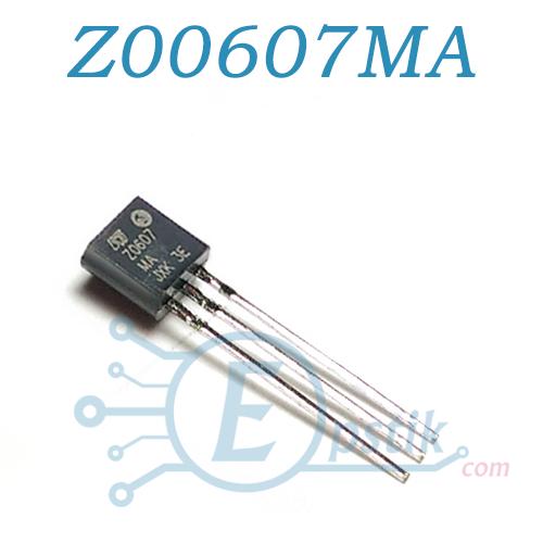 Z00607MA, симистор 600В, 0.8А, TO92
