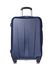 Дорожный чемодан из ABS пластика на 4-х колесах (средний) Puccini Paris  синего цвета, фото 3