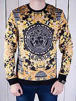 Теплая мужская кофта Versace желто-черная
