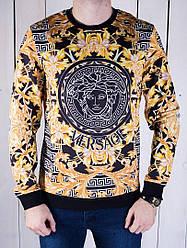 Теплая мужская кофта Versace желто-черная топ реплика
