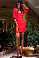 Деловое Короткое Платье с Интересным Декольте Красное S-XL