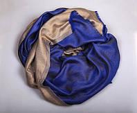 Шарф двухсторонний из шерсти/шелка синий/золотой, фото 1