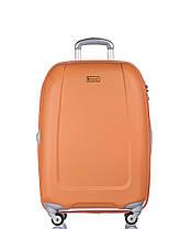 Дорожный чемодан из ABS пластика на 4-х колесах (средний) Puccini Barcelona  оранжевого цвета, фото 2