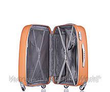 Дорожный чемодан из ABS пластика на 4-х колесах (средний) Puccini Barcelona  оранжевого цвета, фото 3