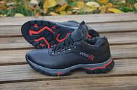 Мужские ботинки Ecco кожаные со шнуровкой черные с красным