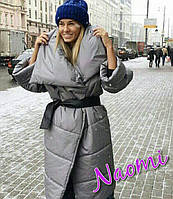 Стеганное женское пальто на зиму под пояс