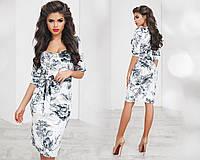Платье  мраморный велюр норма МОД№ 2075 (НИН55)