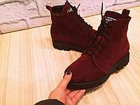 "Ботинки зимние ""Тимберленд"" марсала натуральная замша и мех код 2258"