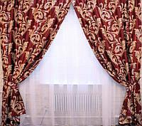 Красные шторы с бежевым узором Лилия