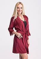 Шелковый бордовый халат с кружевом Х026