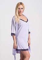 Женский шелковый комплект ночная рубашка и халат, К038н