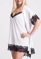 Женский кружевной комплект, ночная рубашка и халат, К040н
