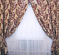 Бежевые шторы с красными узорами Лилия