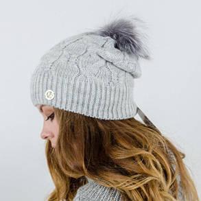 """Вязаная женская шапка """"Ruzana"""" с натуральным помпоном, фото 2"""