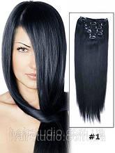 Волосся натуральні REMY 115 грам на заколках 50 см відтінок Чорний