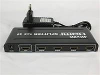 Сплиттер HDMI 1-вход, 4-выхода активный (v1,4b, 3D)+адаптер питания