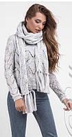 Женский свитер с шарфом 1458