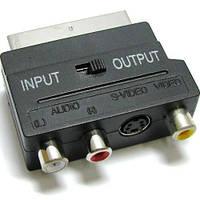 Переходник штекер скарт на 3 гнезда RCA +гнездо mini din 4-х контактный с переключателем