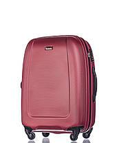 Дорожный чемодан из ABS пластика на 4-х колесах (средний) Puccini Barcelona  красного цвета, фото 2