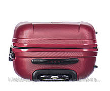 Дорожный чемодан из ABS пластика на 4-х колесах (средний) Puccini Barcelona  красного цвета, фото 3