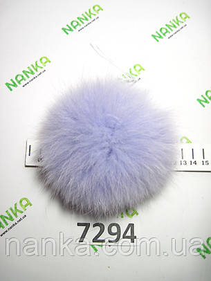 Меховой помпон Песец, Голубой, 13 см, 7294, фото 2