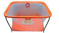"""Манеж детский игровой KinderBox """" ЛЮКС с мелкой сеткой """"(оранжевый мишка)"""