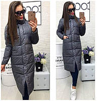 Пальто женское динное стеганое на синтепоне  P7818