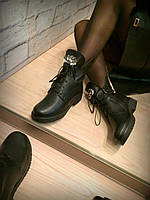 """Ботинки зимние черные """"Мода"""" натуральная кожа и мех код 2262"""