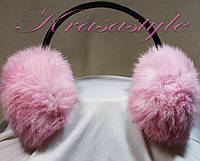 Меховые наушники светло-розовые цвета, фото 1