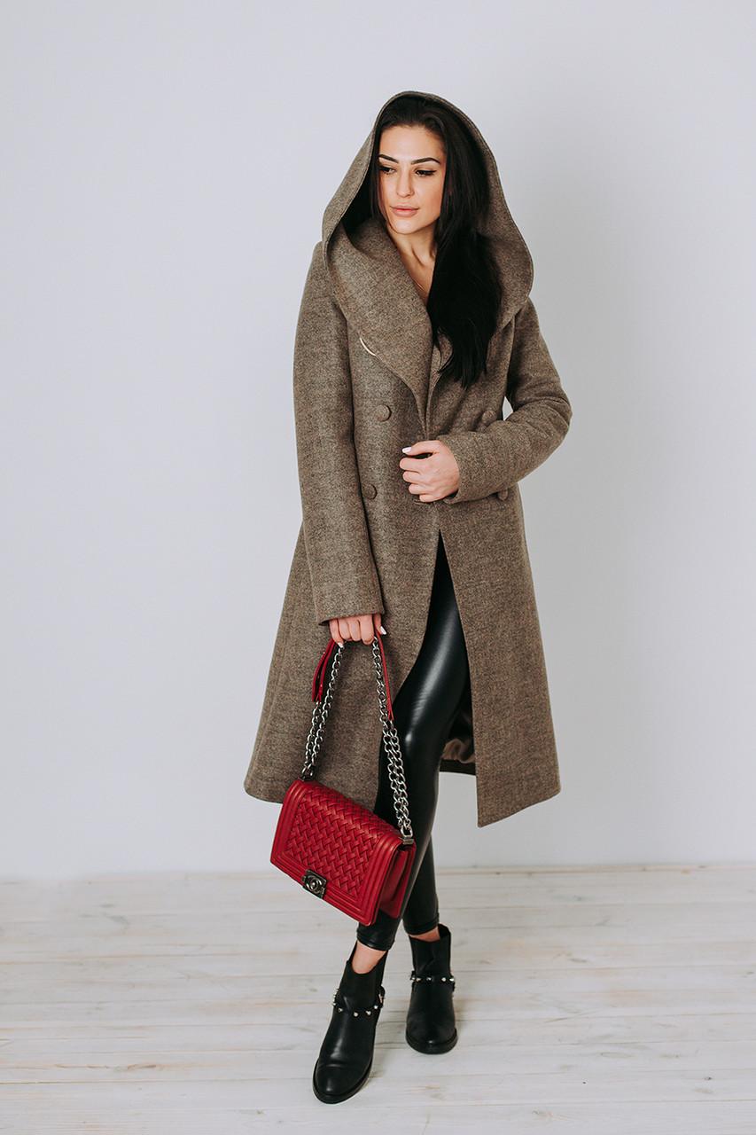 Зимнее пальто из шерсти Д 308 бежевое