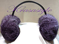 Меховые наушники Темно - фиолетового цвета