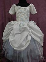 Платье детское нарядное белое с голубым Принцесса 4-6 лет