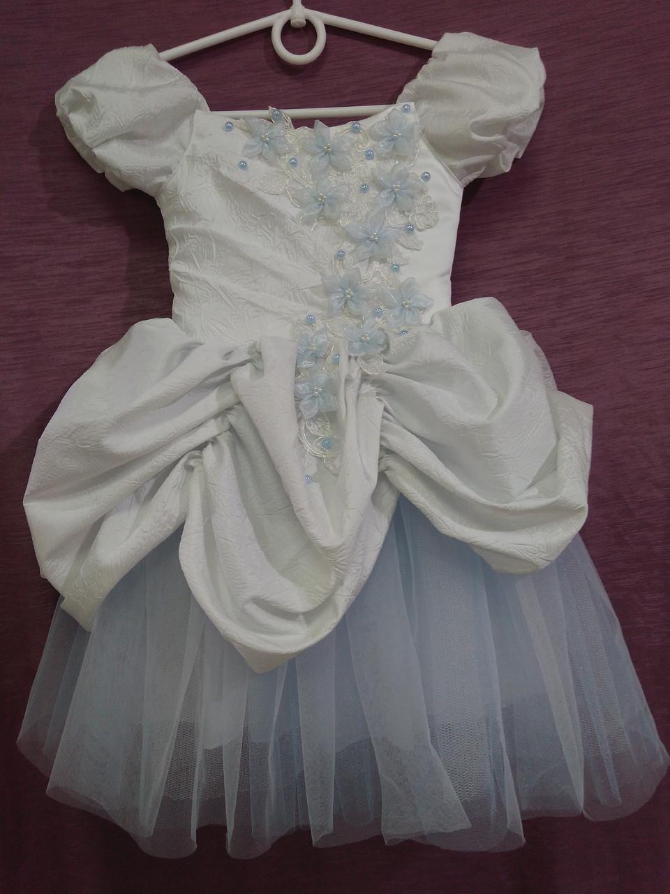 Платье детское нарядное белое с голубым Принцесса на 2-4 года