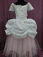 Платье детское нарядное белое с розовым Принцесса на 6-8 лет