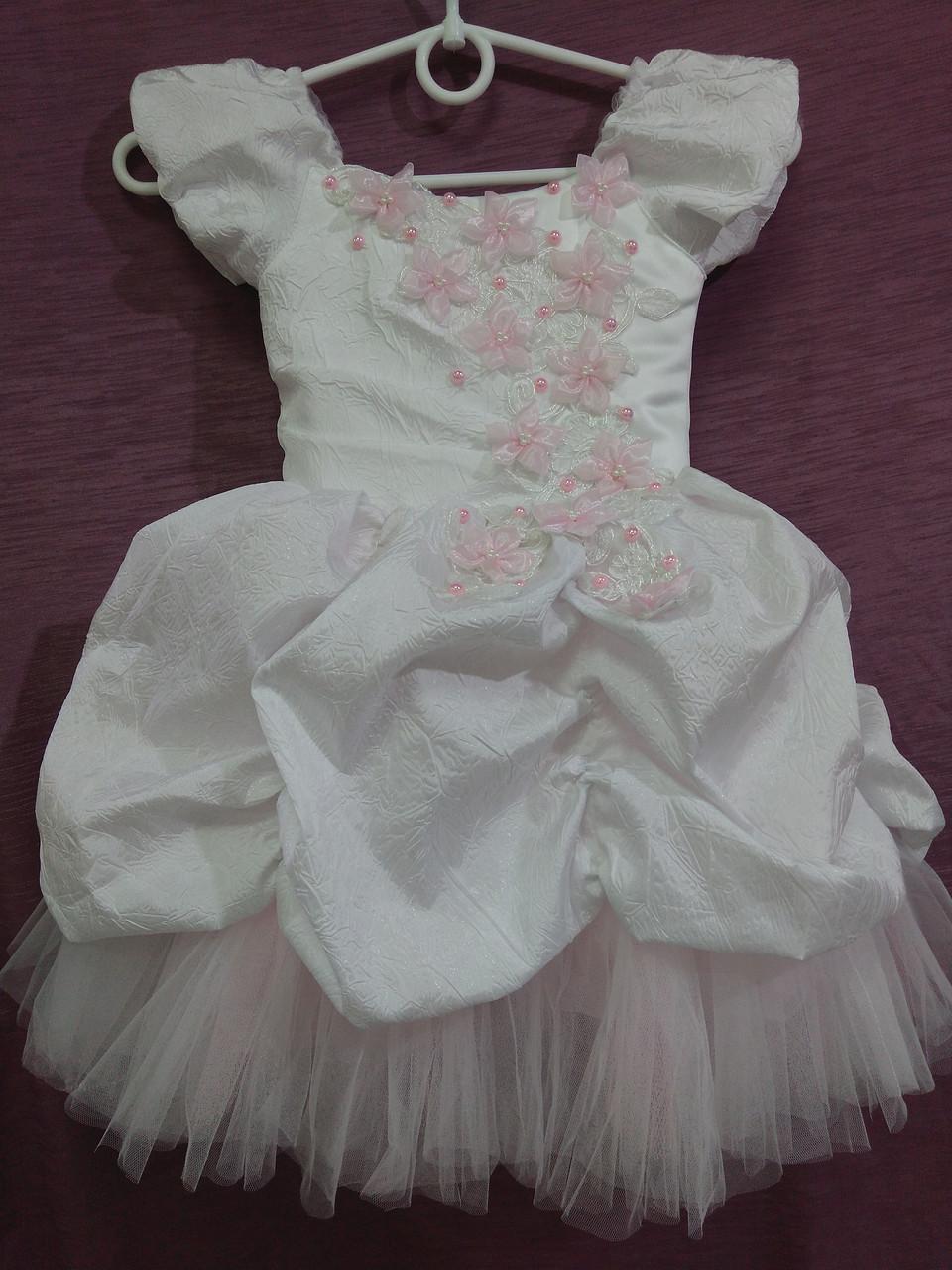 Платье детское нарядное белое с розовым Принцесса на 2-4 года