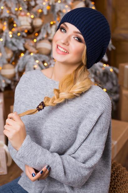 Молодіжна темно-синя в'язана шапка Stefany