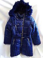 Полу-пальто зимнее детское для девочки 9-13лет,синий цвет с мехом