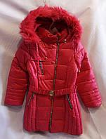 Полу-пальто зимнее детское для девочки 9-13лет,малиновыйцвет с мехом