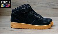 Кроссовки мужские Nike Air Force, цвет - черный, материал - замша, утеплитель - мех, подошва - прошита