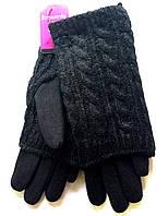 Женские перчатки трикотаж, вязка (митенки), черные