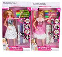 Кукла 901  29см, шарнирная, платье-раскраска,ткань,фломастеры,2вида,в кор-ке,20-36-5см